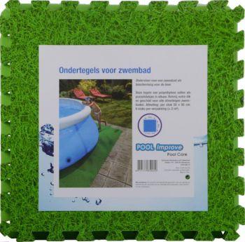 zwembad ondertegels gras groen