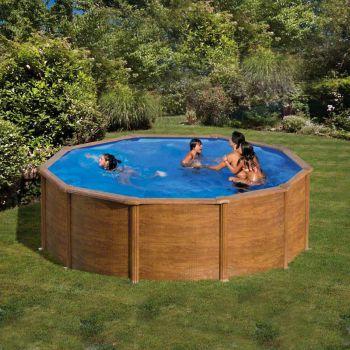 Zwembad houtdecor rond 240